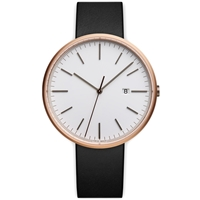 Uniform Wares M40 Calendar Wristwatch Pvd Rose Gold And Black Leather