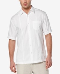 Cubavera Men's Seersucker Embroidered Short Sleeve Shirt Bright White