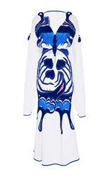 Yuliya Magdych Butterfly In Love Cotton Silk Midi Dress White