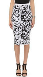 Milly Midnight Floral Fitted Skirt Black White