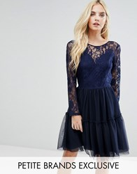 John Zack Petite Allover Lace Top Mini Prom Tulle Prom Dress With Scallop Back Navy