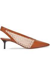 Altuzarra Peppino Fishnet And Leather Slingback Pumps Tan
