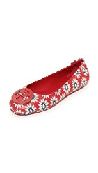 Tory Burch Minnie Travel Ballet Flats Red Navy White Primrose