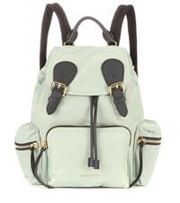 Burberry The Medium Leather Trimmed Backpack Green