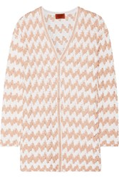 Missoni Metallic Crochet Knit Cardigan Pink