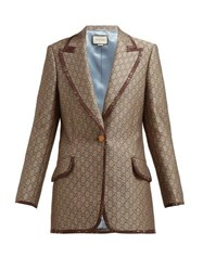 Gucci Gg Single Breasted Cotton Blend Jacket Beige Multi