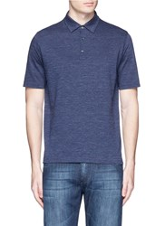 Isaia Cotton Herringbone Polo Shirt Blue