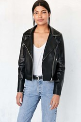 Silence And Noise Raw Edge Vegan Leather Moto Jacket Black