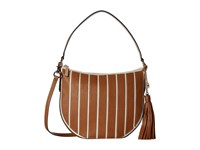 Michael Michael Kors Applique Stripe Canvas Brklyn Medium Conv Hobo Natural Acorn Hobo Handbags Brown