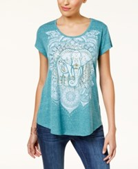 Style And Co Graphic Shirttail Hem T Shirt Created For Macy's Elephant Dream