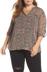 Kut From The Kloth Plus Size Floral Print Blouse Olive