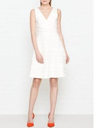 Reiss Daisy Stripe Texture Fit And Flare Dress White Off White