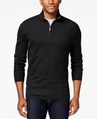 Club Room Big And Tall Performance Quarter Zip Sweater Only At Macy's Deep Black