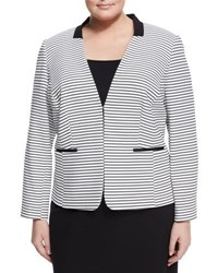Tahari Asl Plus Knit Stripe Jacket White Black