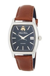 Brooks Brothers Men's Core Collection Rectangular Leather Strap Watch Brown