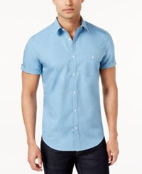 Calvin Klein Men's Chambray Short Sleeve Shirt Ocean Breeze