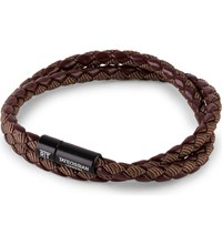 Tateossian Chelsea Leather Double Wrap Bracelet Brown