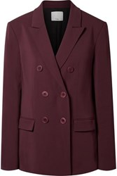 Tibi Steward Oversized Double Breasted Crepe Blazer Burgundy