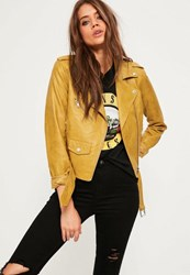 Missguided Yellow Faux Leather Biker Jacket Mustard