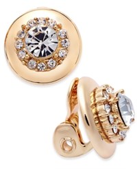 Charter Club Gold Tone Crystal Clip On Stud Earrings Only At Macy's