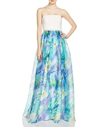 Js Collections Strapless Floral Print Skirt Gown 100 Bloomingdale's Exclusive Blue Multi