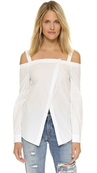 N Nicholas Off Shoulder Wrap Front Shirt White