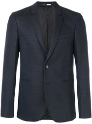 Paul Smith Ps By Slim Fit Tailored Jacket Spandex Elastane Viscose Wool Blue
