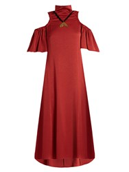 Ellery Deity Cut Out Shoulder Matte Satin Dress Dark Red