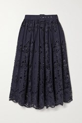 Miguelina Penina Belted Crochet Trimmed Cotton And Linen Blend Midi Skirt Midnight Blue
