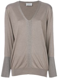 Snobby Sheep Fitted V Neck Sweater Silk Cashmere Nude Neutrals