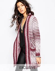 Sunshine Soul Longline Cardigan With Boho Aztec Pattern Burgundy