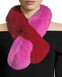 Charlotte Simone Polly Pop Two Tone Fur Pull Through Scarf Pink Red Multi