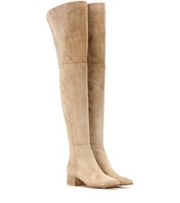 Gianvito Rossi Rolling Mid Suede Over The Knee Boots Beige