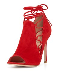 Gianvito Rossi Side Lace Up Peep Toe Bootie Tabasco Red