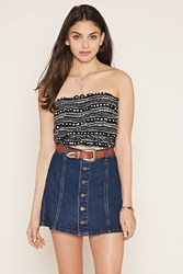 Forever 21 Tribal Print Strapless Crop Top