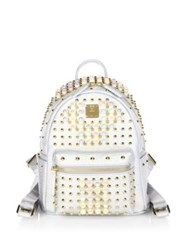 Mcm Stark Pearly Studded Metallic Leather Backpack White