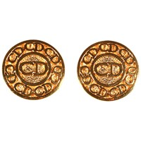 Alice Joseph Vintage Christian Dior Logo Gold Plated Clip On Earrings Gold