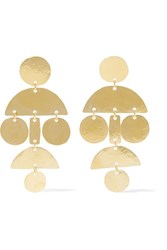 Annie Costello Brown Mini Pom Pom Hammered Gold Plated Earrings One Size