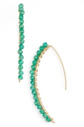Sonya Renee 'Brynn' Semiprecious Stone Threader Earrings Green