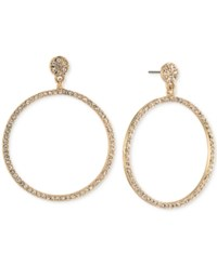 Carolee Gold Tone Pave Gypsy Hoop Earrings