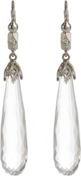 Cathy Waterman Diamond Crystal And Platinum Drop Earrings Colorless