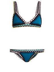 Kiini Flor Crochet Trimmed Triangle Bikini Blue Multi