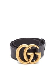 Gucci Gg Logo Leather Belt Black