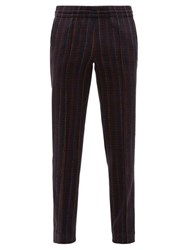 Missoni Striped Knitted Wool Blend Trousers Navy Multi