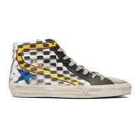 Golden Goose White And Black Grand Prix Sneakers