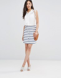 Soaked In Luxury Striped Button Through A Line Skirt Cream With Blue Stri Multi