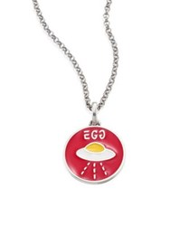 Guccighost Sterling Silver Egg Pendant Necklace Red