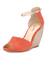 Seychelles Sunlight Suede Wedge Sandal Melon