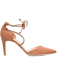 Rupert Sanderson Wrap Ankle Sandals Nude And Neutrals