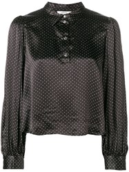 Ganni Half Buttoned Cropped Shirt Black